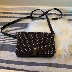Thirty-one gray crossbody bag white polka dots